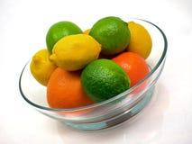 Citrus Bowl. Bowl of citrus fruit on white background Royalty Free Stock Images