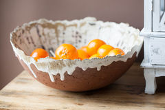 Citrus Bowl. Brown and white handmade Citrus Bowl Royalty Free Stock Images