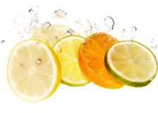 Citrus and bubble. Citrus slices in water with bubble isolated Stock Image