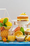 Citrus candy bar with fruits and cakes Stock Photo