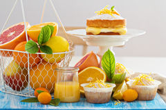 Citrus candy bar with fruits and cakes Royalty Free Stock Image