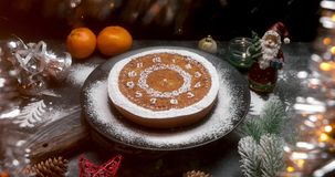 Citrus Christmas cake on the holiday table stock video footage