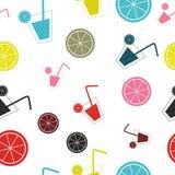 Citrus Cocktail seamless pattern background vector illustration Stock Photos