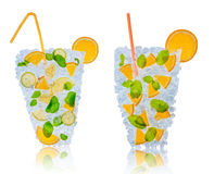 Citrus cocktails with ice cubes on white. Ice fresh drink made of lime, lemon and orange slices placed on ice cubes. Isolated on white background Stock Images