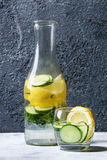 Citrus cucumber sassy water. Citrus cucumber sassy sassi water for detox in glass bottle on gray texture background. Clean eating, healthy lifestyle concept Royalty Free Stock Image