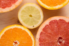 The citrus cut by circles lies on a table. Orange, lemon, grapefruit. Close up, small depth of sharpness Royalty Free Stock Photo