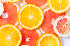 The citrus cut by circles lies on a table Stock Photo