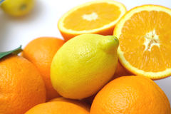 Citrus Details I. Lemons and Oranges on white background. Focus on lemon Stock Photography