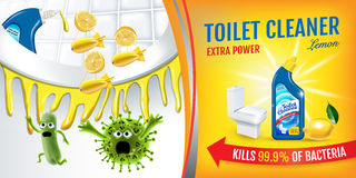 Citrus fragrance toilet cleaner ads. Cleaner bobs kill germs inside toilet bowl. Vector realistic illustration. Horizontal banner. Royalty Free Stock Photography