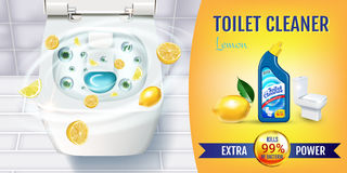 Citrus fragrance toilet cleaner gel ads. Vector realistic Illustration with top view of toilet bowl and disinfectant container. Stock Photos