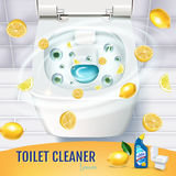 Citrus fragrance toilet cleaner gel ads. Vector realistic Illustration with top view of toilet bowl and disinfectant container. Po Stock Photo