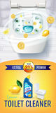 Citrus fragrance toilet cleaner gel ads. Vector realistic Illustration with top view of toilet bowl and disinfectant container. Ve Royalty Free Stock Photos