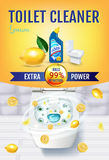 Citrus fragrance toilet cleaner gel ads. Vector realistic Illustration with top view of toilet bowl and disinfectant container. Ve Stock Photos
