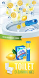 Citrus fragrance toilet cleaner gel disc ads. Vector realistic Illustration with toilet bowl gel dispenser and gel discs. Vertical Stock Photography