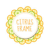 Citrus frame with orange and lime. Summer frame, label fruit Royalty Free Stock Image