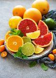 Citrus fresh fruits. Plate with citrus fresh fruits on a concrete background royalty free stock photo