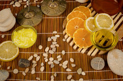 Citrus fruit based body care still life Royalty Free Stock Images
