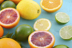 Citrus Fruit on blue wood table. Stock Photography
