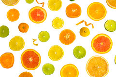 Citrus Fruit Design. Bright colorful design of various citrus fruit slices with oranges, lemons, limes, grapefruit and tangerines Stock Photos