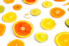 Citrus Fruit Design. Bright colorful design of various citrus fruit slices with oranges, lemons, limes, grapefruit and tangerines Stock Images