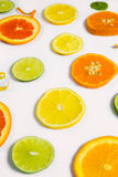 Citrus Fruit Design. Bright colorful design of various citrus fruit slices with oranges, lemons, limes, grapefruit and tangerines Royalty Free Stock Images