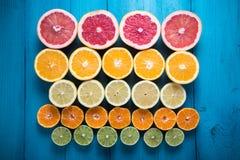 Citrus fruit half cut on vibrant background Stock Photo