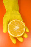 Citrus fruit on human hand Royalty Free Stock Photo