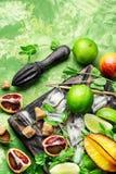 Citrus fruit ingredients for detox drink Royalty Free Stock Photo