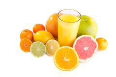 Citrus fruit and juice. Set of different citrus fruit and juice on white background Royalty Free Stock Photos