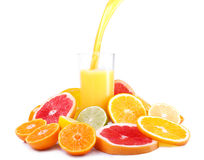 Citrus fruit and juice. Mount citrus slices around glasses of juice Royalty Free Stock Images
