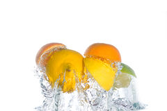 Citrus fruit jumping out of the water stock images