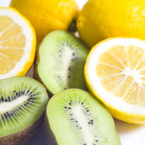 Citrus fruit  Kiwi fruit and lemon Stock Photos