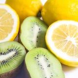 Citrus fruit  Kiwi fruit and lemon Stock Photos