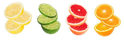 Citrus Fruit Set orange, grapefruit, lime, lemon isolated on white. Background Stock Images