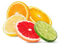 Citrus Fruit Set orange, grapefruit, lime, lemon isolated on white. Background Stock Image