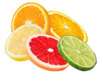 Citrus Fruit Set orange, grapefruit, lime, lemon isolated on white. Background Stock Photography