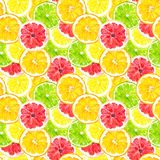 Citrus fruit slicehand draw seamless watercolor fabric pattern. stock photography