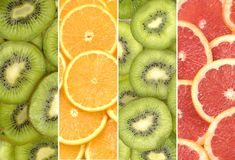 Citrus fruit slices. Background-closeup Stock Photos