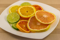 Citrus Fruit Slices on Plate. A photo of various Citrus fruit slices on a plate Stock Photo