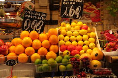 Citrus fruit stall at market,Barcelona Stock Images