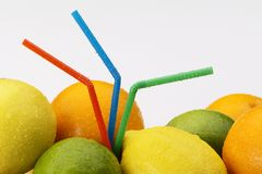 Citrus fruit with straws Stock Photo