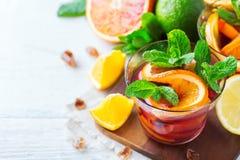 Citrus fruit summer fresh lemonade, infused water detox drink cocktail Royalty Free Stock Images