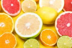 Citrus fruit top view of cut slices royalty free stock photo