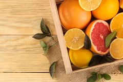 Citrus fruit. various citrus fruits with leaves of lemon, orange, grapefruit in a  box on a natural wooden table. top view royalty free stock image