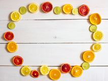 Citrus fruit on a white background. View from the top.  stock photo