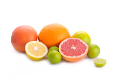 Citrus fruits. On the white Royalty Free Stock Photo
