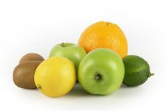 Citrus fruits. Group of fresh citrus fruits five a day Royalty Free Stock Photos