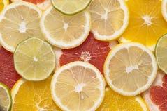 Citrus fruits. Citrus fruit cut into slices Royalty Free Stock Photo