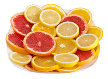 Citrus fruits. In white plate Stock Image