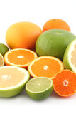 Citrus fruits. Limes, grapefruits, oranges, lemon and tangerine on white background close up stock images